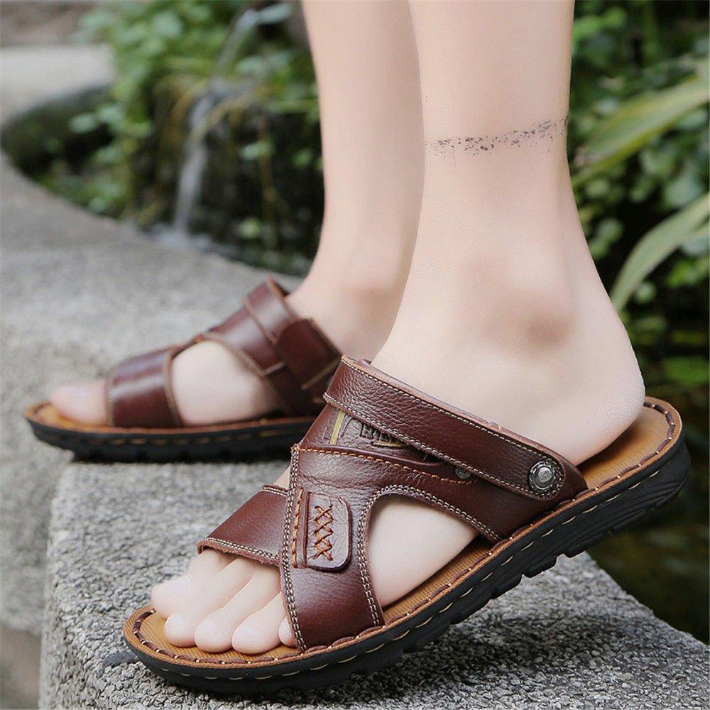 fb3a65ae21a QXH Hommes Sandales en Cuir Chaussures de Plage Décontracté Respirant à  Tête Ronde