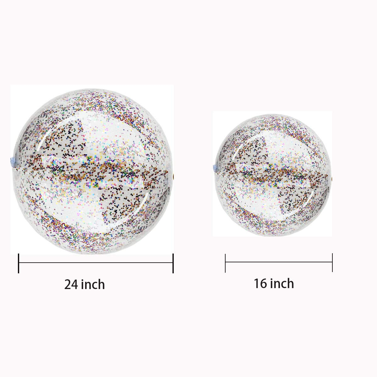 16 Inch-1 Pieces, 24 Inch-1 Piece Summer Water Fun Play Beach Ball Pool Ball Party SBYURE 2 Pcs Shiny Glitter Beach Ball Confetti Beach Ball Inflated Party Ball for Summer Beach Favor