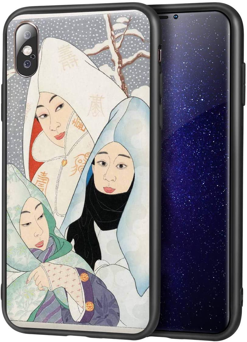 Paul Jacoulet for iPhone X/iPhone Xs Fine Art Cellphone Case/Giclee Level Reproduction Print on Mobile Phone Cover(Pengyong Snowflakes Korean Snowflakes Stamped Sample in Lower)