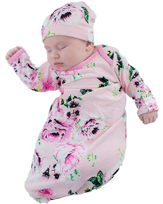 92b316aaf7a Image Unavailable. Image not available for. Color  Baby Be Mine Newborn Gown  and Hat Set Layette Romper Coming Home ...