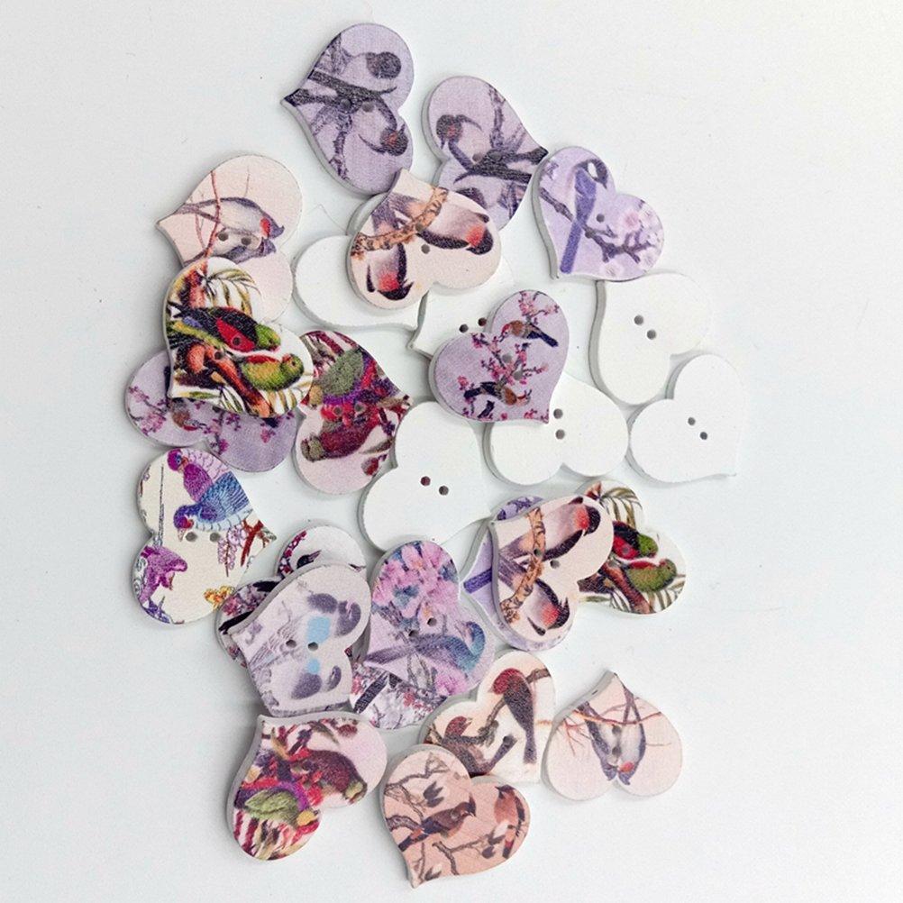 Multicolore ultnice 50/pezzi legno cuore Bottone Bottoni 2/fori per cucito e artigianato fai da te DIY
