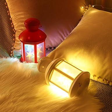 Luz Blanca C/álida Bater/ía LED L/ámpara de Luz Nocturna de Bombilla de luz para Hogar Casa Mesa Caf/é Bar Jard/ín Terraza Balc/ón Lewondr Linterna de Granero de Candelero Decorativa Electr/ónica