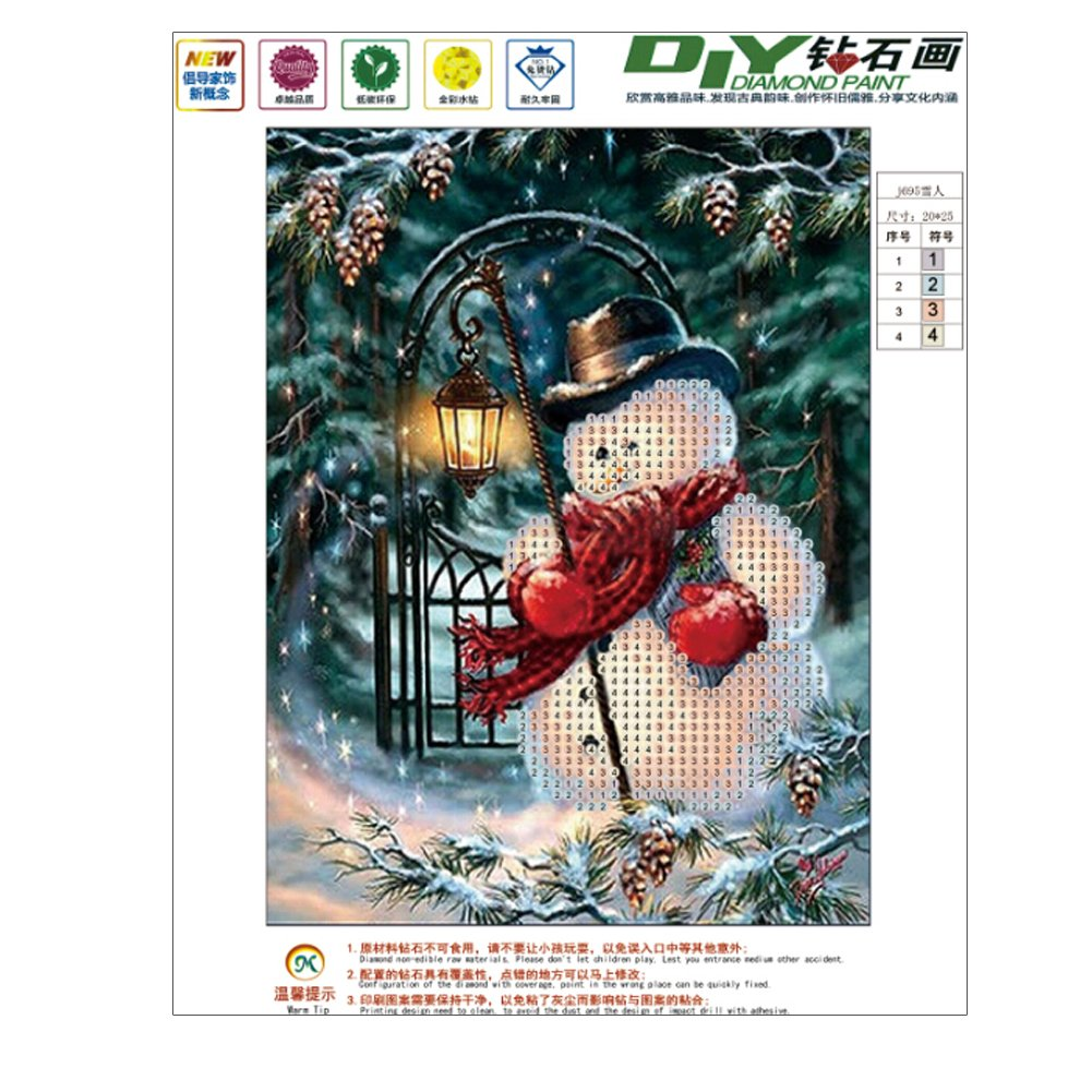 Dabixx 5D DIY Diamond Painting, Christmas and Snowman 5D DIY Painting Painting By Numbers Diamonds Embroidery Painting Cross Stitch Kit DIY Home Decor 20×25cm