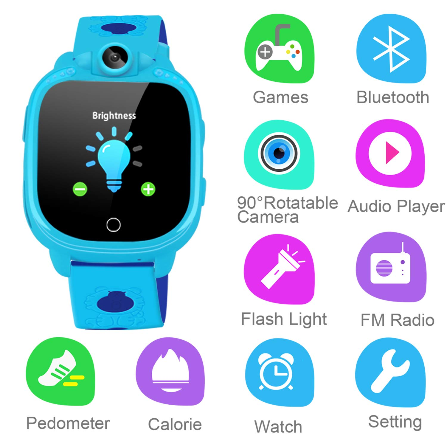 Prograce Smartwatch for Kids with 90°Rotatable Camera
