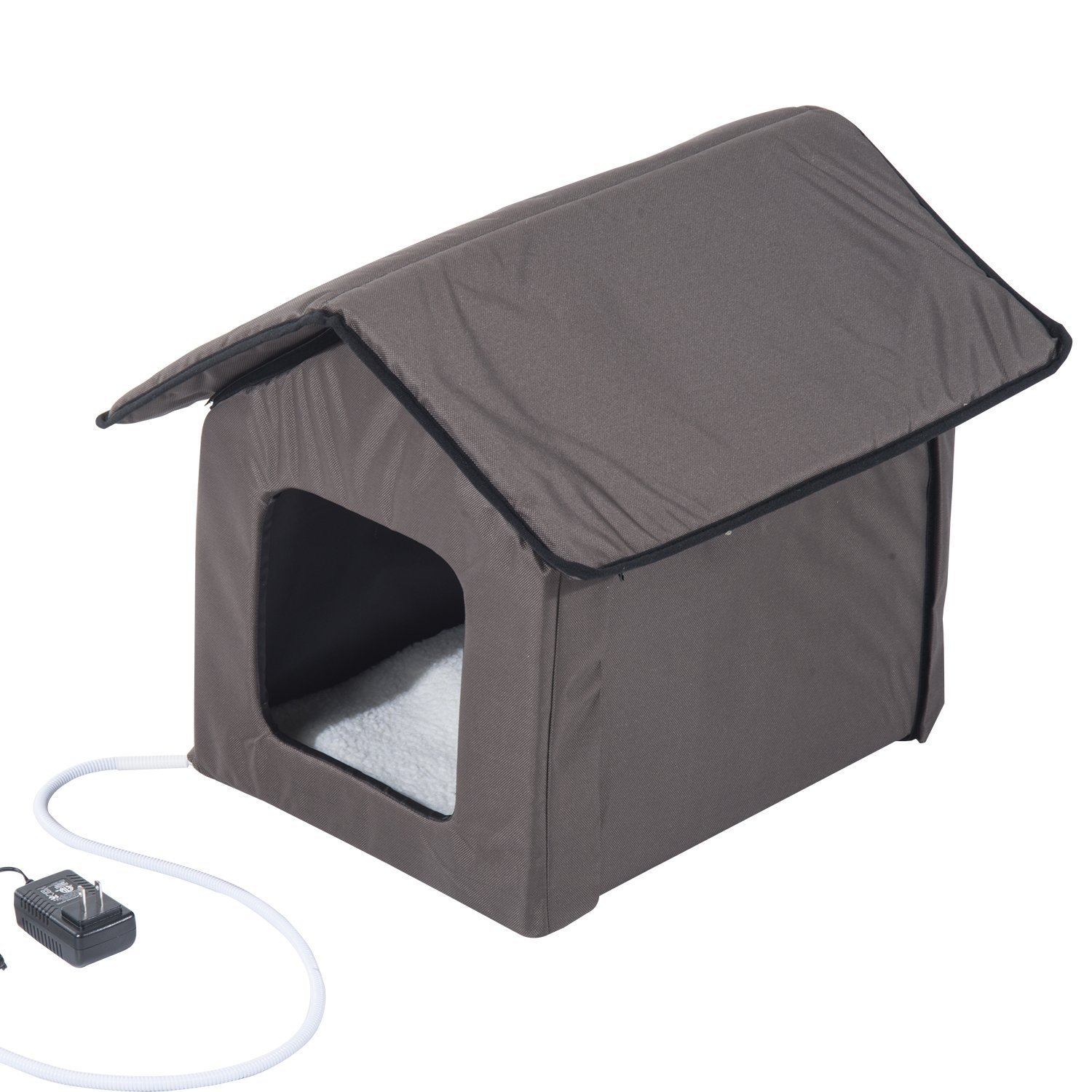 Cat House Amazoncom Pawhut Outdoor Heated Cat House Brown Pet Supplies