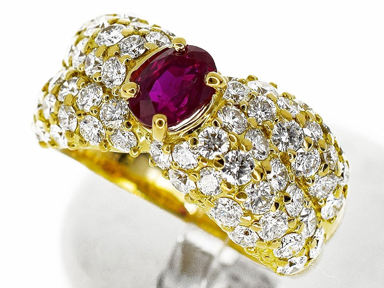 (クィーンジュエリー) Queen Jewelry ミャンマービルマ産 非加熱 ルビー(R0.933ct) ダイヤ(D2.12ct) リング 750 K18 YG イエローゴールド 日本サイズ約12号 52 B073WVQ2K8