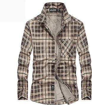 Nieve de Invierno Caliente Hombres Camisas Grueso Forro a Cuadros 100% algodón Cazadora Casual de Hombre Blusas: Amazon.es: Deportes y aire libre
