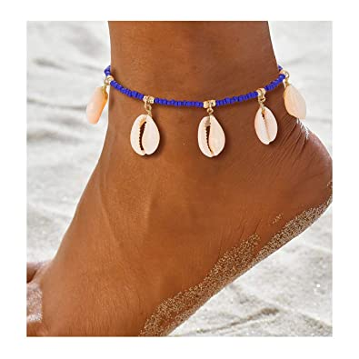 96472e8fd2980 ZITULRY Natural Shell Anklet Bracelet Boho Anklets Summer Beach Jewelry  Cowrie Shell Bead Foot Bracelet for Women