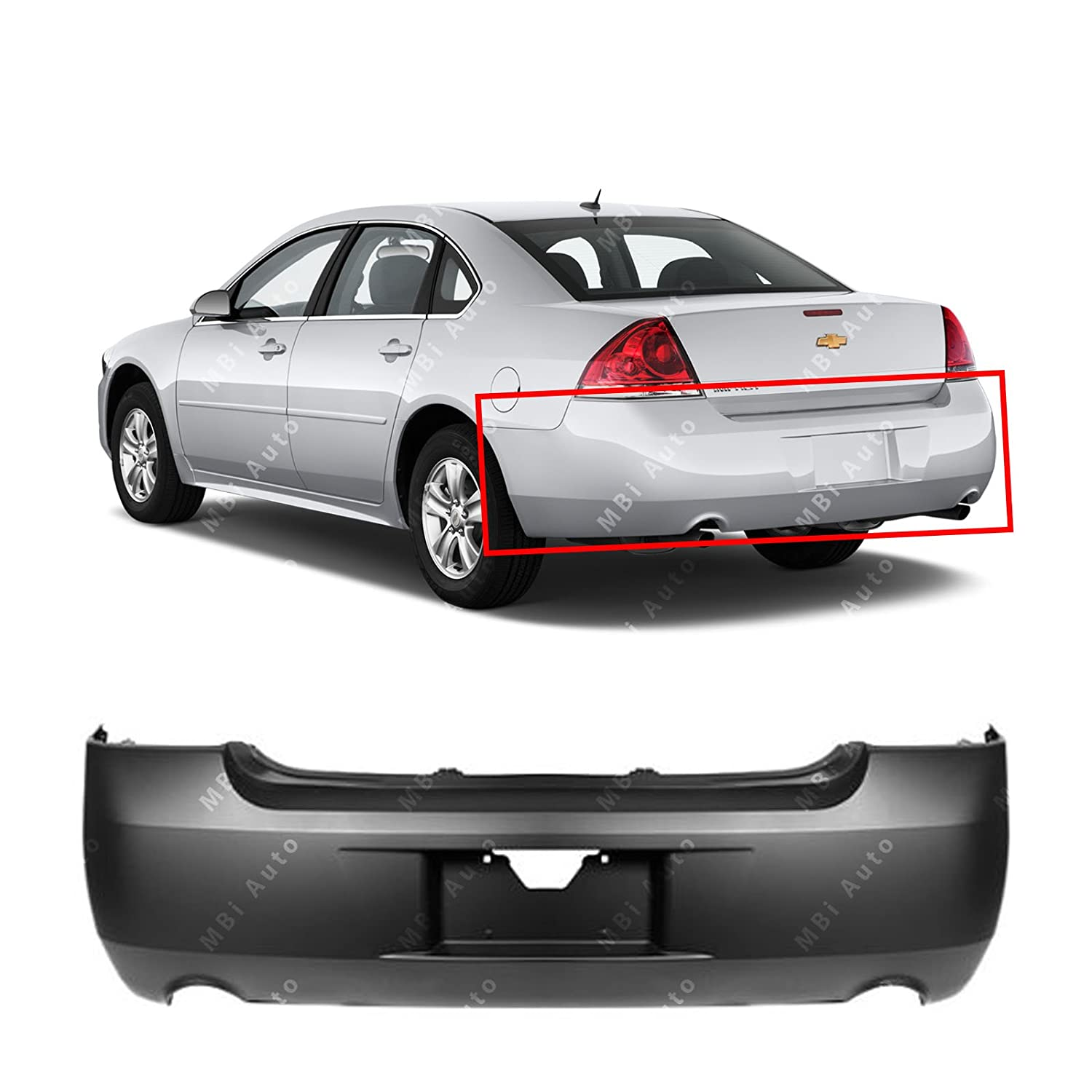 MBI AUTO - Primered, Rear Bumper Cover for 2006-2013 Chevy Impala W/Dual Exhaust 06-13, GM1100736
