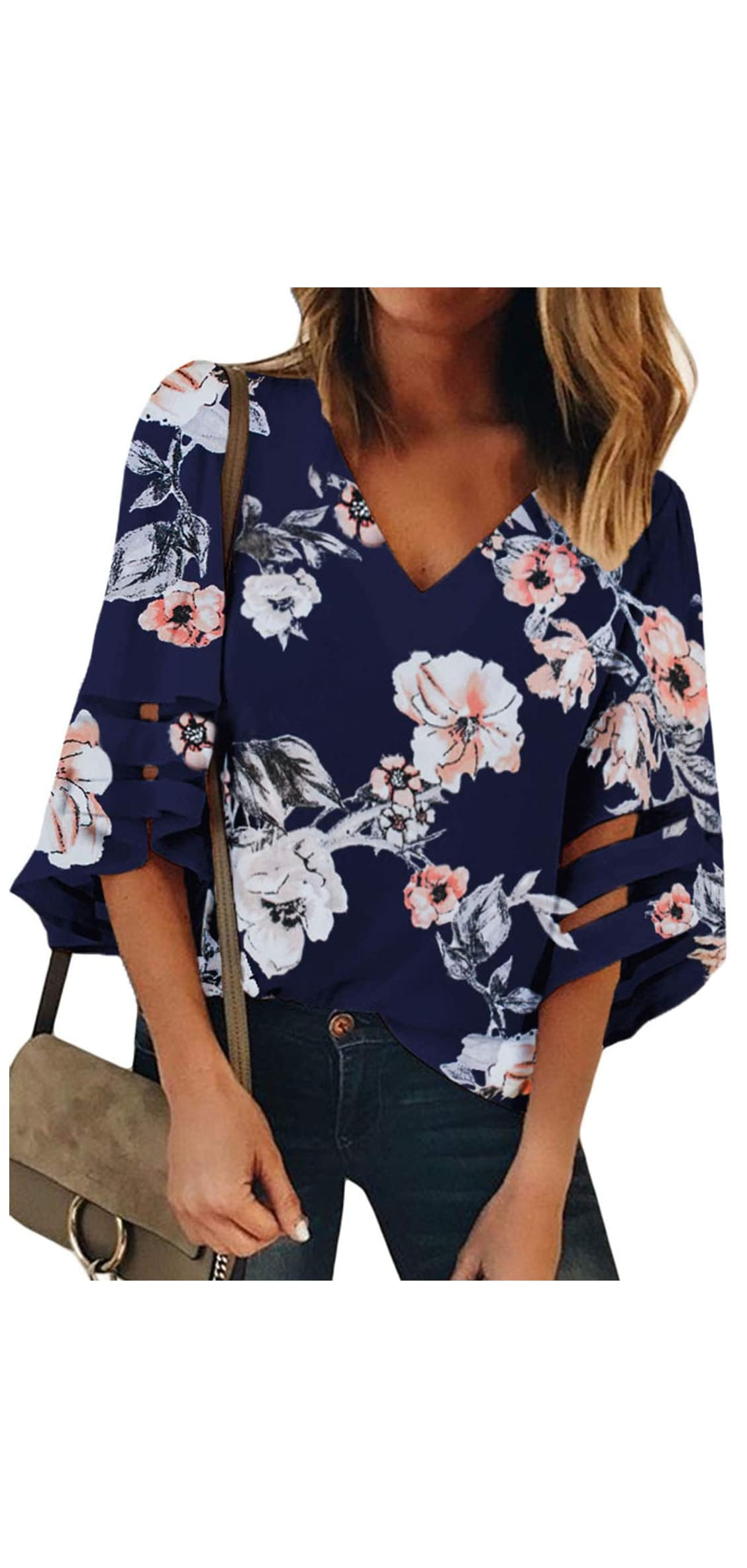 Women V Neck Floral Print Bell Sleeve Shirt Casual Loose