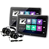 Elinz 2X 10.1 TFT Capacitive Touch Screen Active Headrest Car DVD Player Slim Full HD 1080P Video IR FM Speakers 8 Bit…