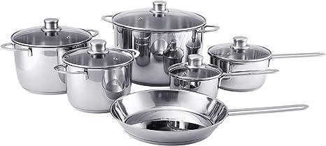Amazon Com Ikea Polerad 11 Piece Cookware Set Stainless Steel Kitchen Dining
