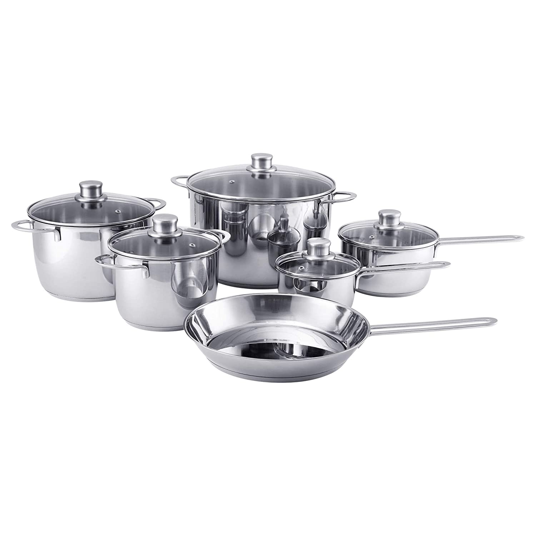 IKEA 503.094.07 Polerad 11-Piece Cookware Set, Stainless Steel