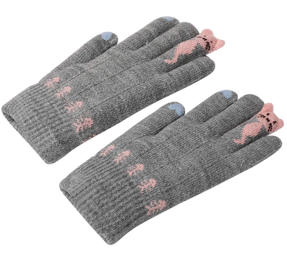 Girls Cold Weather Gloves, Ulstar Girls Warm Cute Cashmere/Wool Blend Winter Windproof Gloves (Gray)