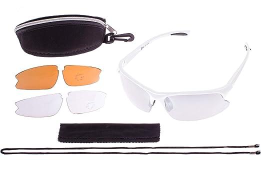 Crivit® Sportbrille - Ultralieicht - 100% UV-Schutz + Wechselgläser + Etui + Putztuch + Brillen Kordel Titan-Matt UePs56