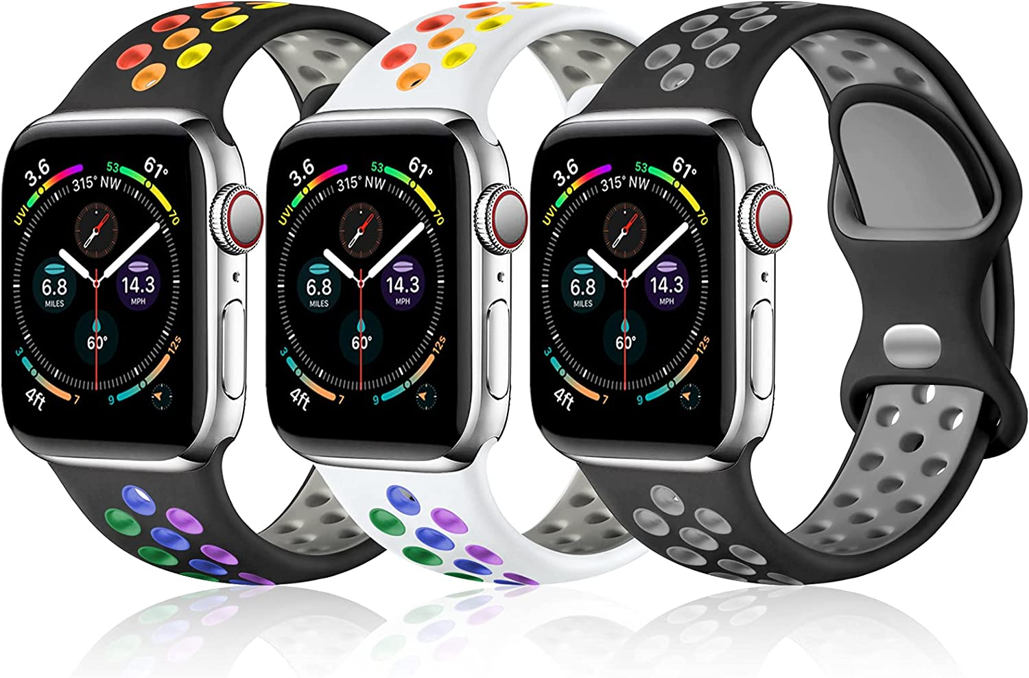 Fuleda Compatible with Apple Watch Band 40mm 44mm 38mm 42mm for Women Men, Soft Silicone Sport Strap Breathable Replacement Band for Apple Watch SE iWatch Series 6, Series 5 4 3 2 1 (3 Pack)