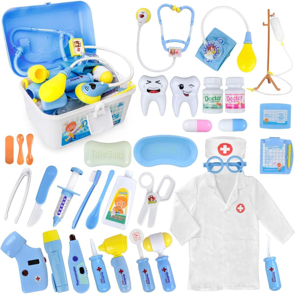 Kit médico, paquete de 35 niños dentista cirujano veterinario kit médico con luz y sonido incluyendo estetoscopio electrónico, gorra de capa de laboratorio, Dr Pretend & Play equipo médico para niños niñas