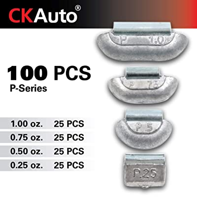 CKAuto 100Pcs P Type Lead Clip on Wheel Weights Assortment, 0.25oz, 0.5oz, 0.75oz, 1.0oz, 25Pcs for Each Style, Uncoated: Automotive