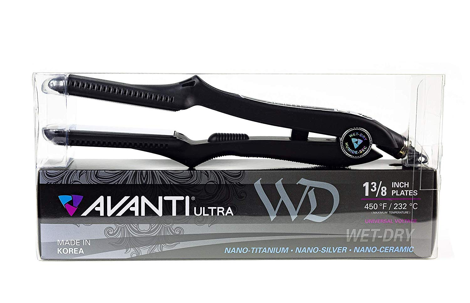 Avanti Ultra Wet-Dry Hair Straightener Nano Titanium Dual Voltage Flat Iron 1-3/8'