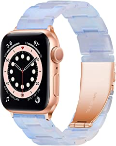 YGTIECS Resin Apple Watch Band Compatible with Apple Watch Band 38mm Women, Combine with Stainless Steel Connector for Apple Watch Band 40mm Series 6 5 4 3 2 1 SE for Women and Man-Phantom Blue
