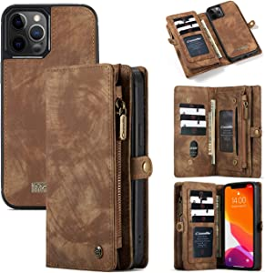 iPhone 12/12 Pro Wallet Case (6.1''), AKHVRS Handmade Leather Zipper Wallet Case Flip Cover with 11 Multip ID Credit Card Slots Holder & Detachable Magnetic Phone Case for iPhone 12/12 Pro - Brown