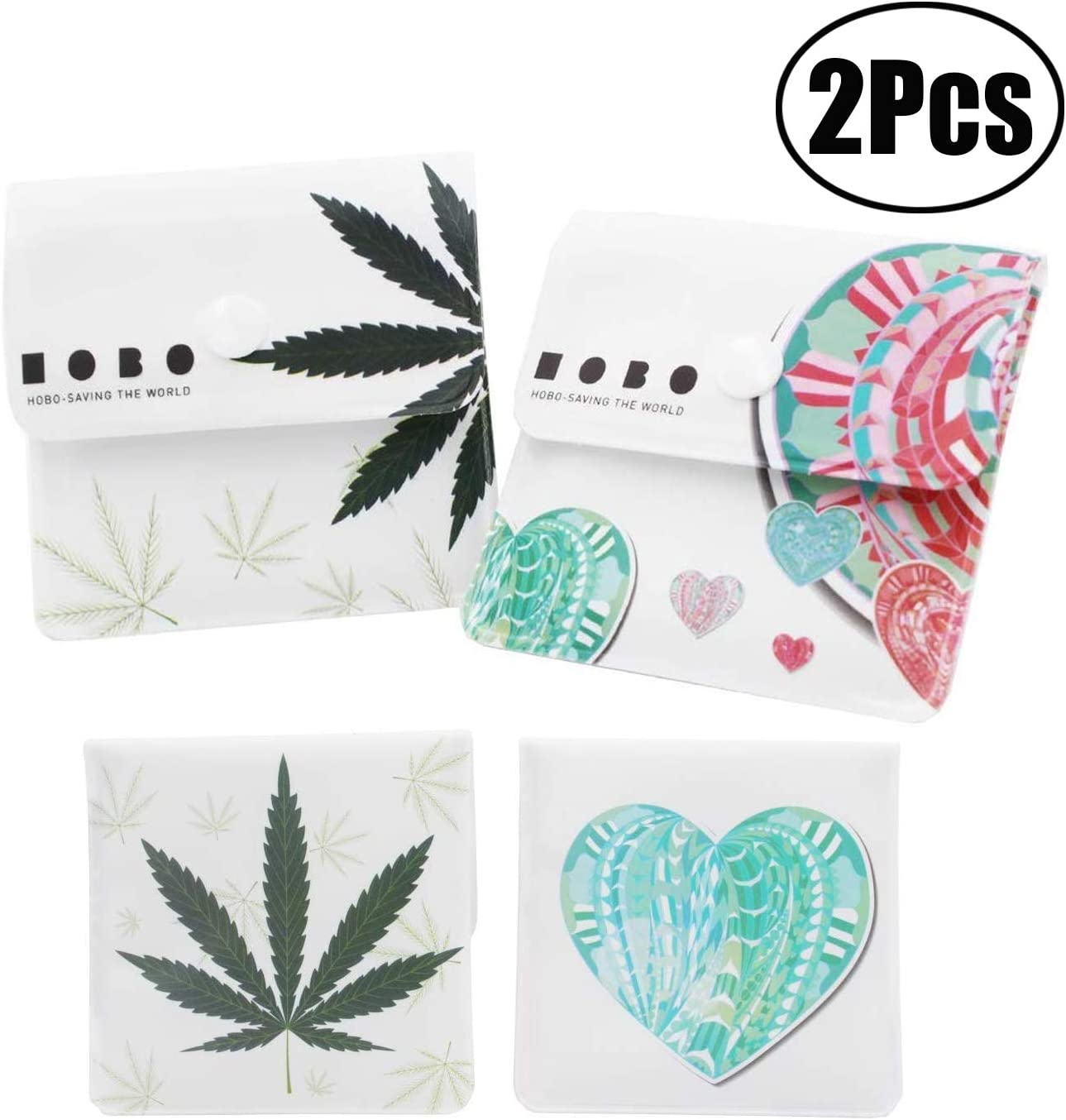 Portable Compact Scent Free Uniquely Designed Green Maple Leaf and Green Heart Pattern JZZJ 2 Pocket Ashtray Grey Bags Fireproof PVC