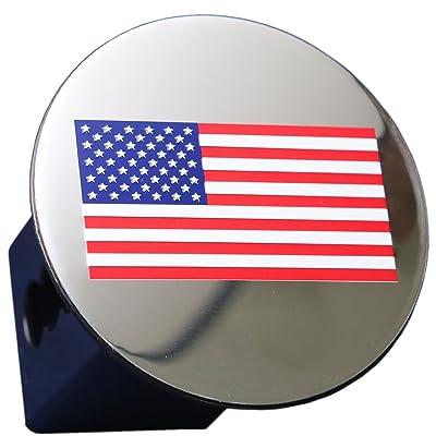 """US American color Flag Chrome Emblem Trailer Metal Hitch Cover Fits 2"""" Receivers Color flag: Automotive"""