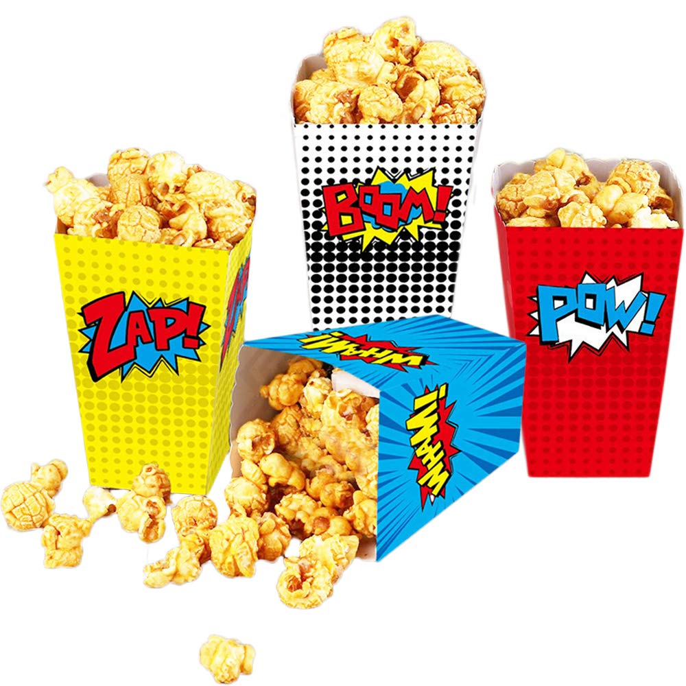 24 Pcs Superhero Party Popcorn Boxes Superhero Party Supplies Favors Candy Container for Birthday Theater Themed Parties Movie Nights Carnivals (style 2)