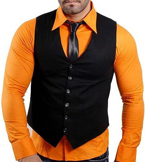 Kickdown Kick Down Hombre Camisa De Manga Larga + Chaleco + corbata Business boda Tiempo Libre Camiseta naranja/negro large: Amazon.es: Ropa y accesorios