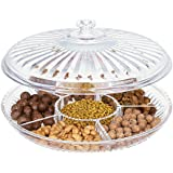 HABIBEE Creative Acrylic Multi Sectional Snack Serving Tray Set with Lid Dried Fruits, Nuts, Candies Holder (Six Sections)