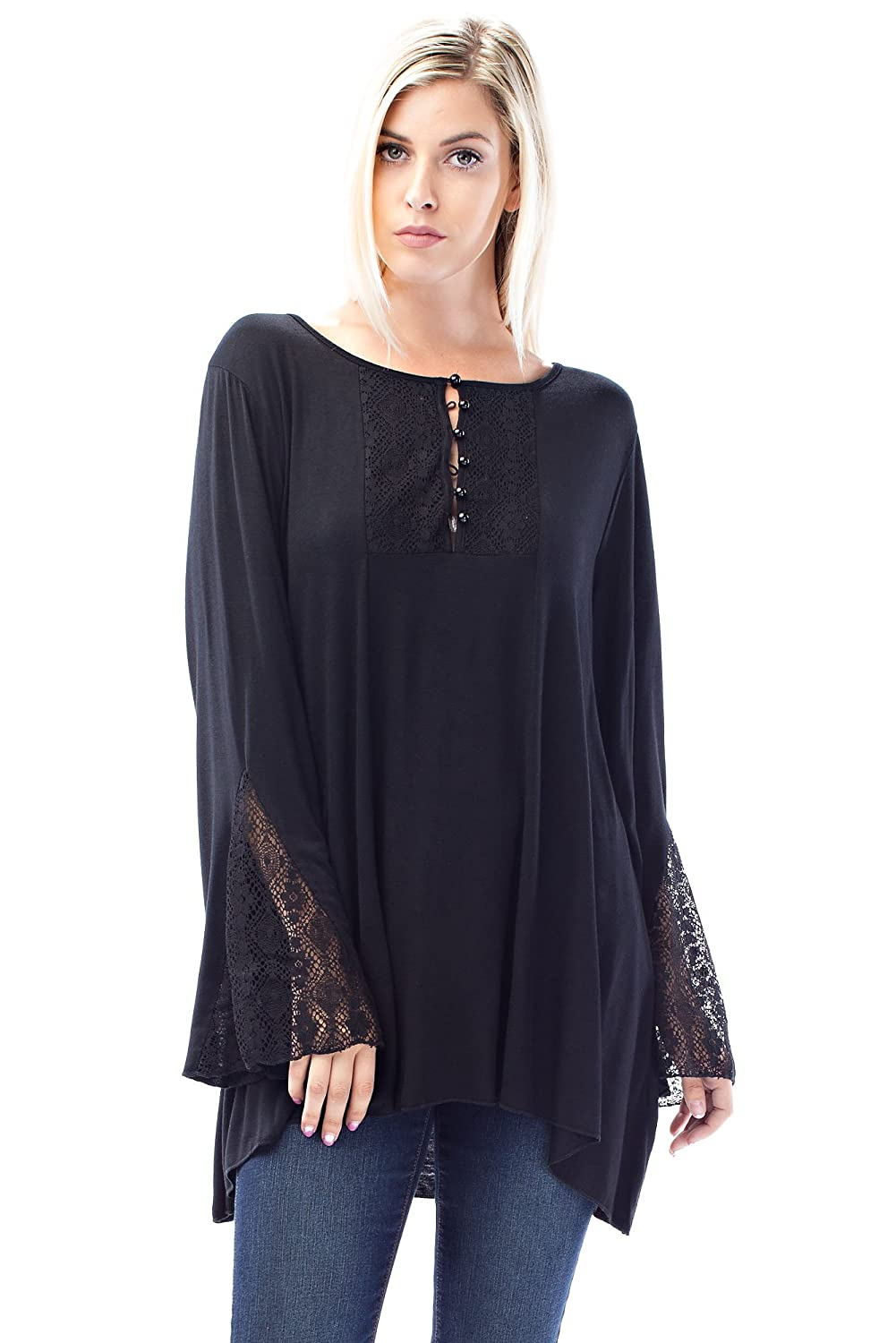 Allora Betsy Red Couture Women's Plus Size Lace Knit Tunic Top P201LX-Red) P201LX-RED-1
