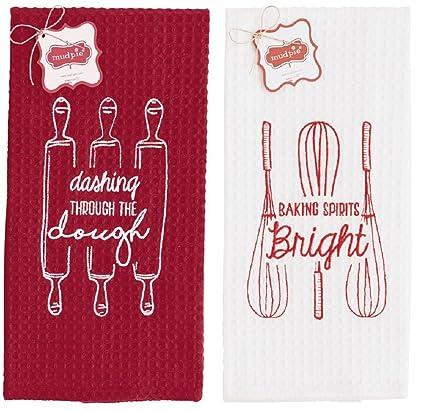 Horno para Spirits Bright Navidad Waffle Weave toallas – Set de 2