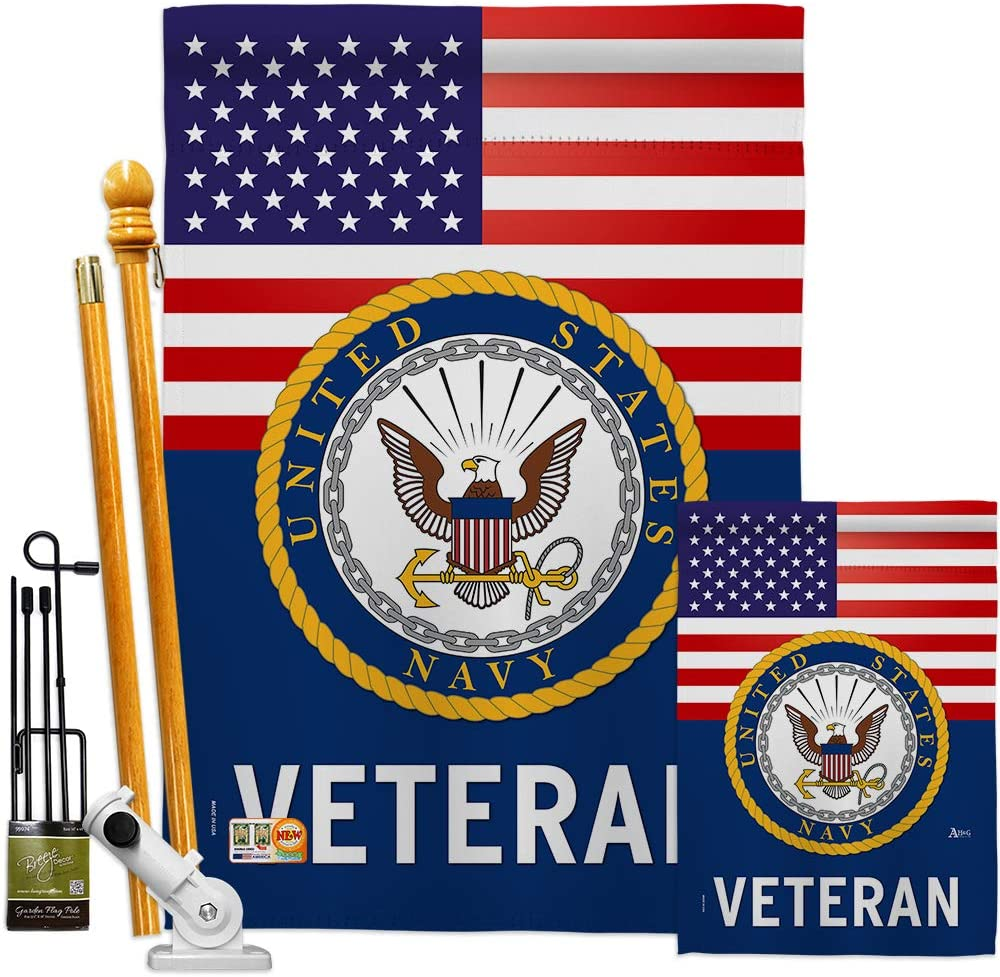 US Navy Veteran Garden House Flag - Kit Armed Forces USN Seabee United State American Military Retire Official - Decoration Banner Small Yard Gift Double-Sided Made in USA 28 X 40