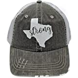 Texas Strong White Glittering Trucker Style Distressed Grey Cap Hat