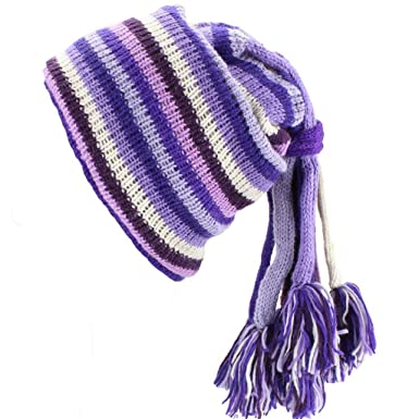 9f794d952c5 Image Unavailable. Image not available for. Colour  Loud Hats SLOUCH BEANIE  HIPPIE FESTIVAL TASSEL HAT Wool Knit Fleece Lined PURPLE   PINK