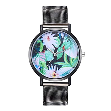 Woman Fashion Watches Plant Pattern Alloy Steel Strap Analog Quartz Round Watch Clock Ladies Watch Relojes