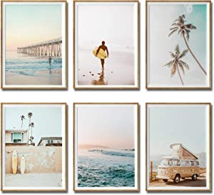 """iMagitek Set of 6 Unframed California Coastal Surf Wall Art Prints, Beach Sunset Wall Poster, Surfboard Wall Art (8"""" x 10"""")"""