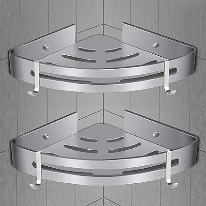 Estantes de esquina de baño [Paquete de 2] Baño Ducha Estante de almacenamiento de esquina de carrito, Cesta de ducha de pared para accesorios de cocina de ducha: Amazon.es: Bricolaje y herramientas