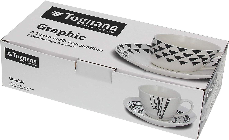 Tognana 6er Set Espressotasse mit Untertasse Graphic aus der Serie Metropolis Weiss-schwarz aus Porzellan modernes Design 80 ml Volumen//Tasse