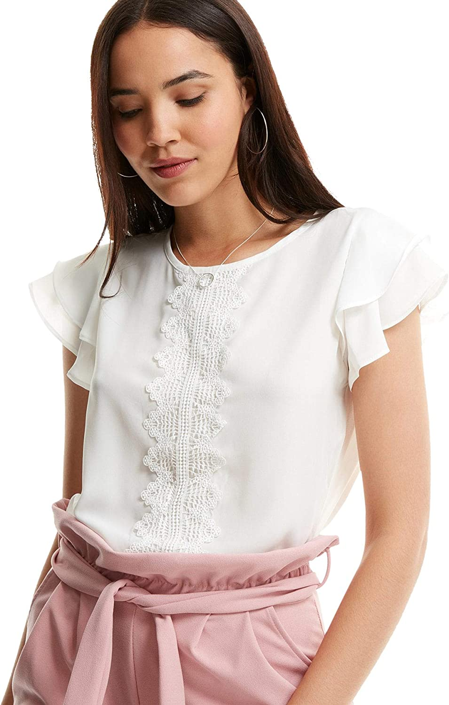 SheIn Women's Summer Ruffle Short Sleeve Lace Chiffon Blouse Workwear Top Shirts