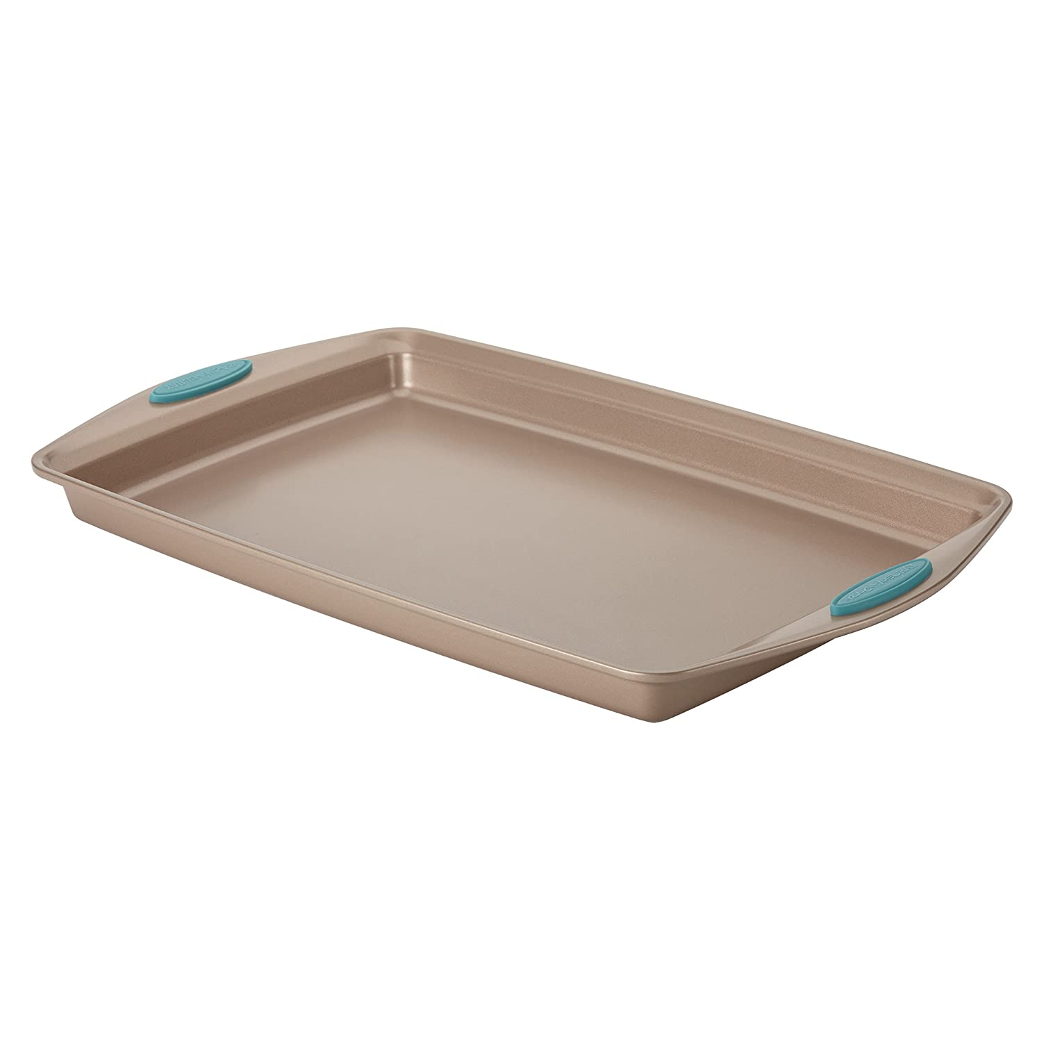 Rachael Ray Cucina Nonstick Bakeware Baking Pan / Cookie Sheet, 11-Inch x 17-Inch, Latte Brown, Agave Blue Handle Grips 46683