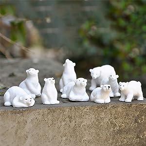 KUDES Mini Animals Miniature Figurines, Fairy Garden Miniature Ornaments Accessories for Moss Landscape DIY Terrarium Crafts Home Décor (Polar Bear)