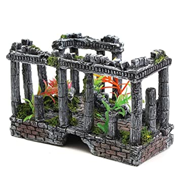 Haodou Antiguas Ruinas Romanas Adorno Romano Columna Resina Artesanías para Acuario Terrario Miniaturas Decoración Paisaje