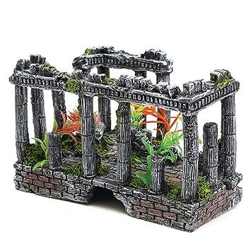 Haodou Antiguas Ruinas Romanas Adorno Romano Columna Resina Artesanías para Acuario Terrario Miniaturas Decoración Paisaje: Amazon.es: Productos para ...