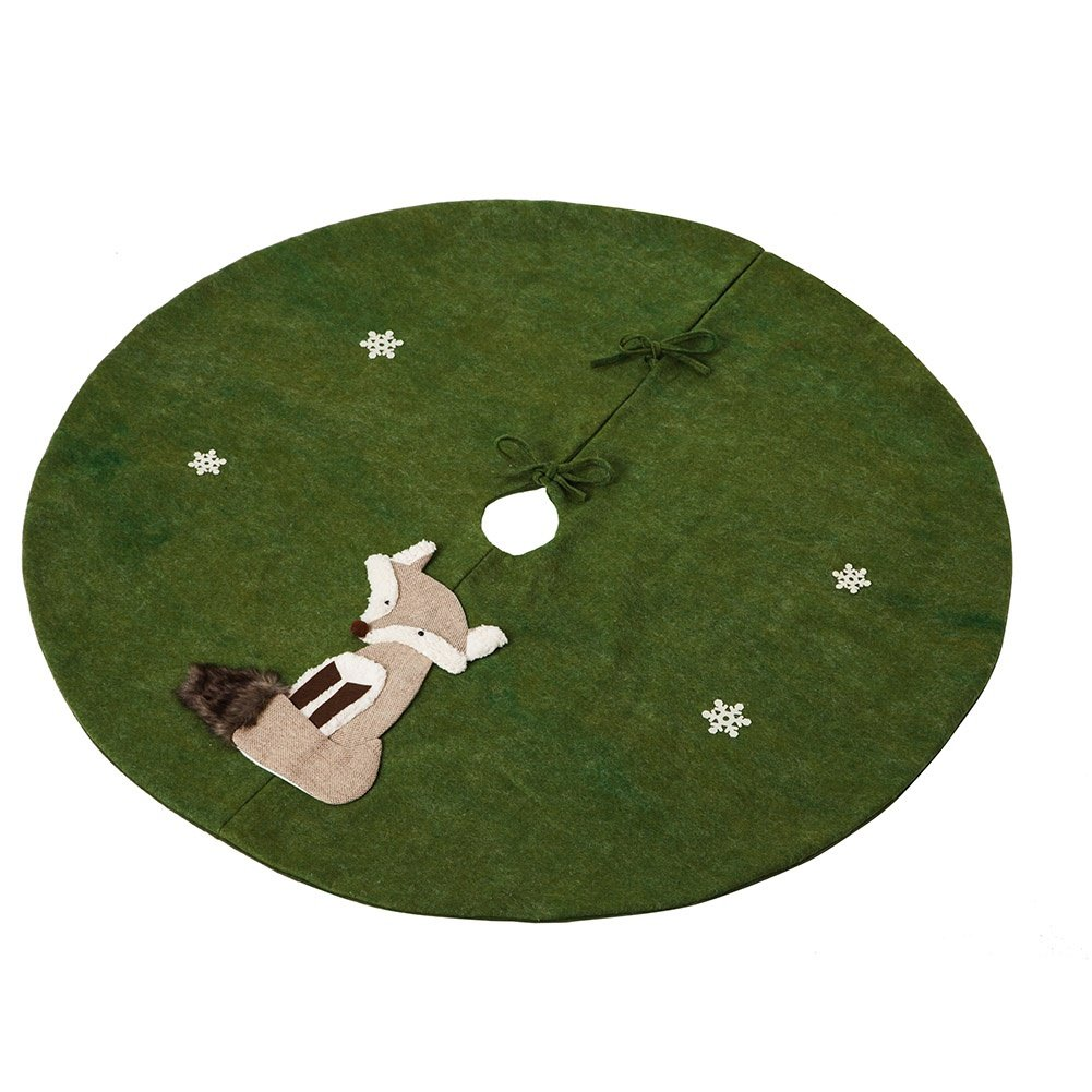 Cypress Home Fox Holiday Tree Skirt Felt Fabric Applique Forest Green Round 48 Inches in Diameter