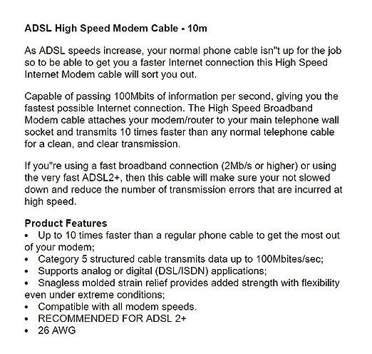 Amazon.com: 10m High Speed Broadband ADSL RJ11 to RJ11 Modem Cable: Home Audio & Theater