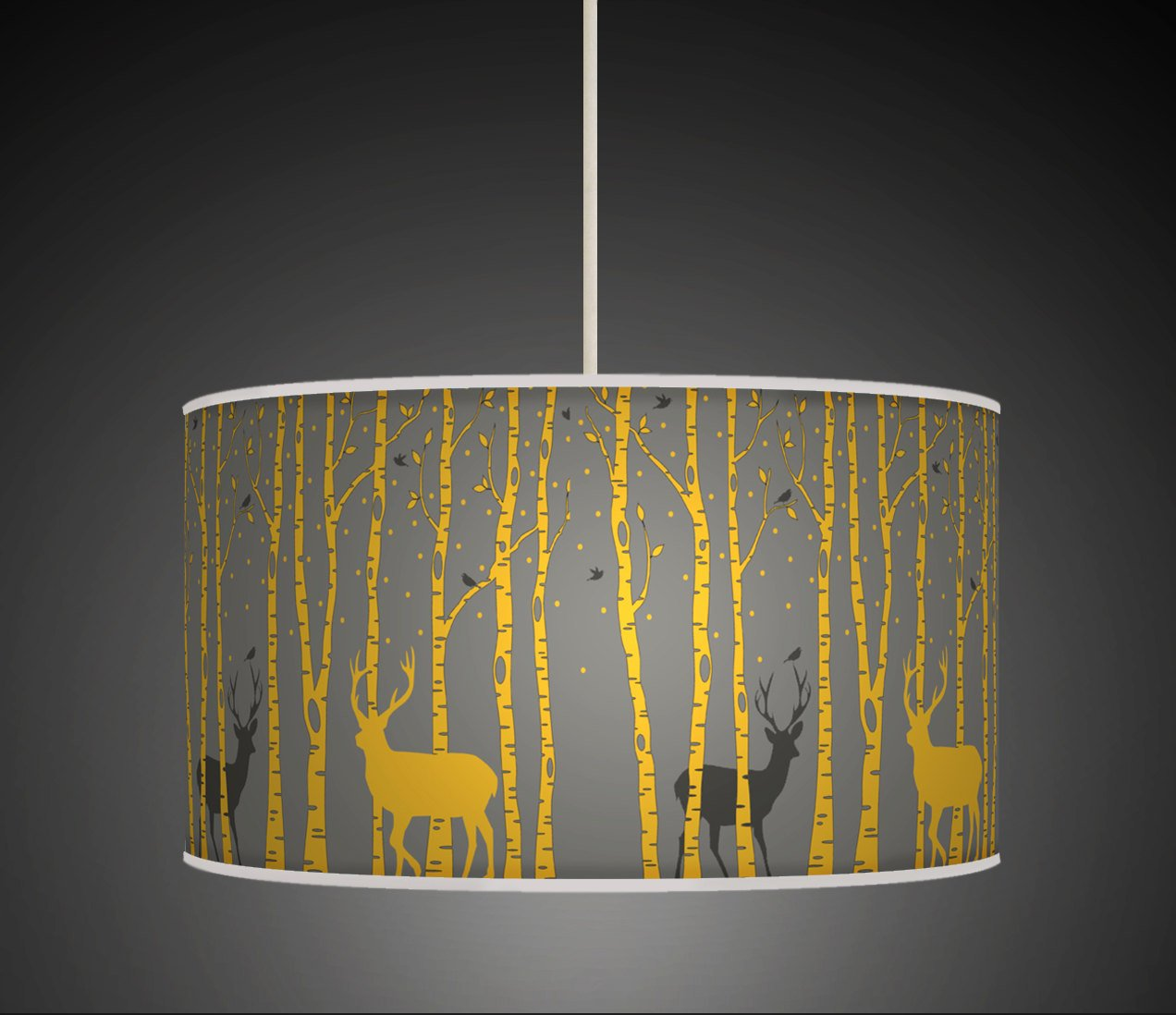 30cm Trees Stag Deer Mustard Yellow Grey Retro Handmade Giclee Style  Printed Fabric Lamp Drum Lampshade Floor Ceiling Pendant Light Shade 632:  Amazon.co.uk: ...