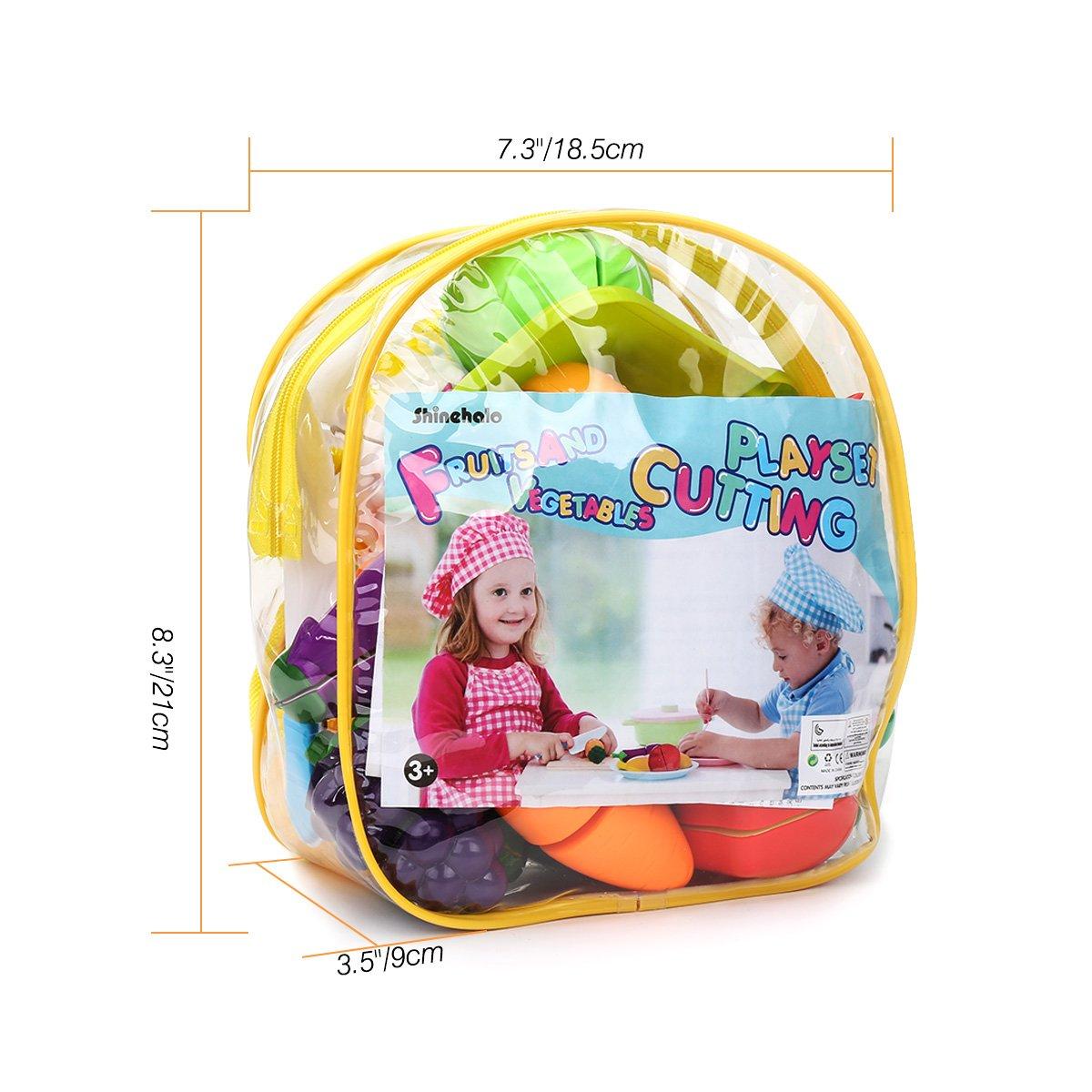 24 PCS giocattolo da cucina di ruolo fanno finta di mangiare giocattoli con zaino Frutta e verdura Taglio Playset Pieno di fondi per bambini Migliora la coordinazione occhio-mano Interazione sociale