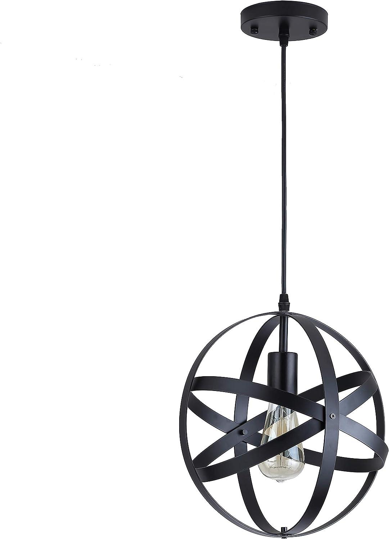 Black Industrial Vintage Metal Globe Ceiling Light Pendant Light, Changeable Hanging Light Chandelier Fixture for Kitchen Island Dining Table Bedroom Hallway.