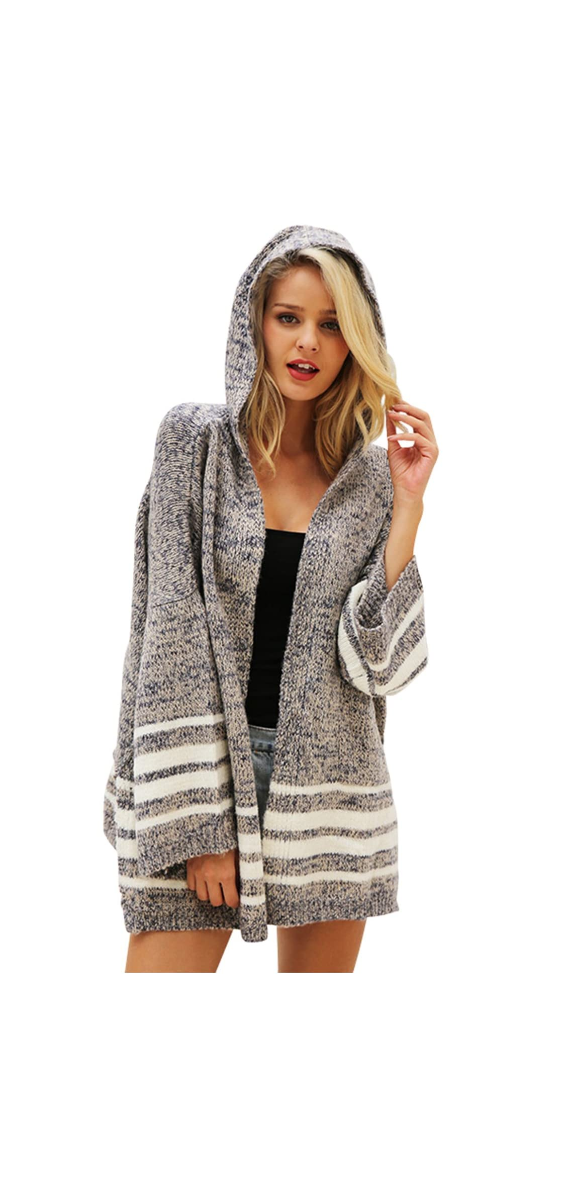 Women's Flare Sleeve Knitted Hooded Cardigan Sweater